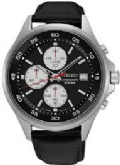 Seiko SKS485P1 100m Leather Strap Chronograph Stopwatch Date Watch